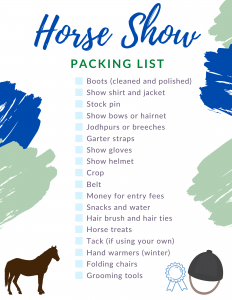 Horse Show Supplies Checklist