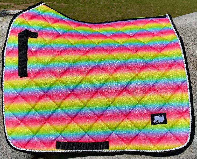 Rainbow Glitter Unicorn Horse Pony Saddle Pad