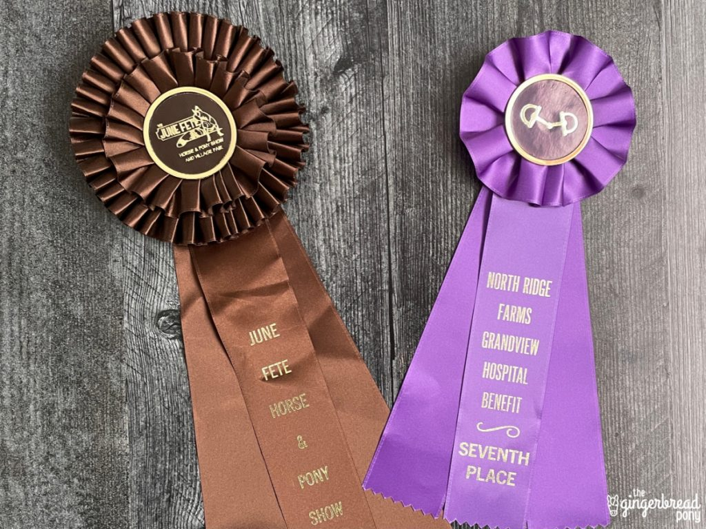 brown purple horse show ribbon